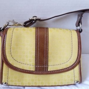 Nine West Small Yellow Cloth Brown Trim Crossbody